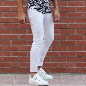 Men's Basic Stretch Jeans Full White Mv Premium Brand - 2