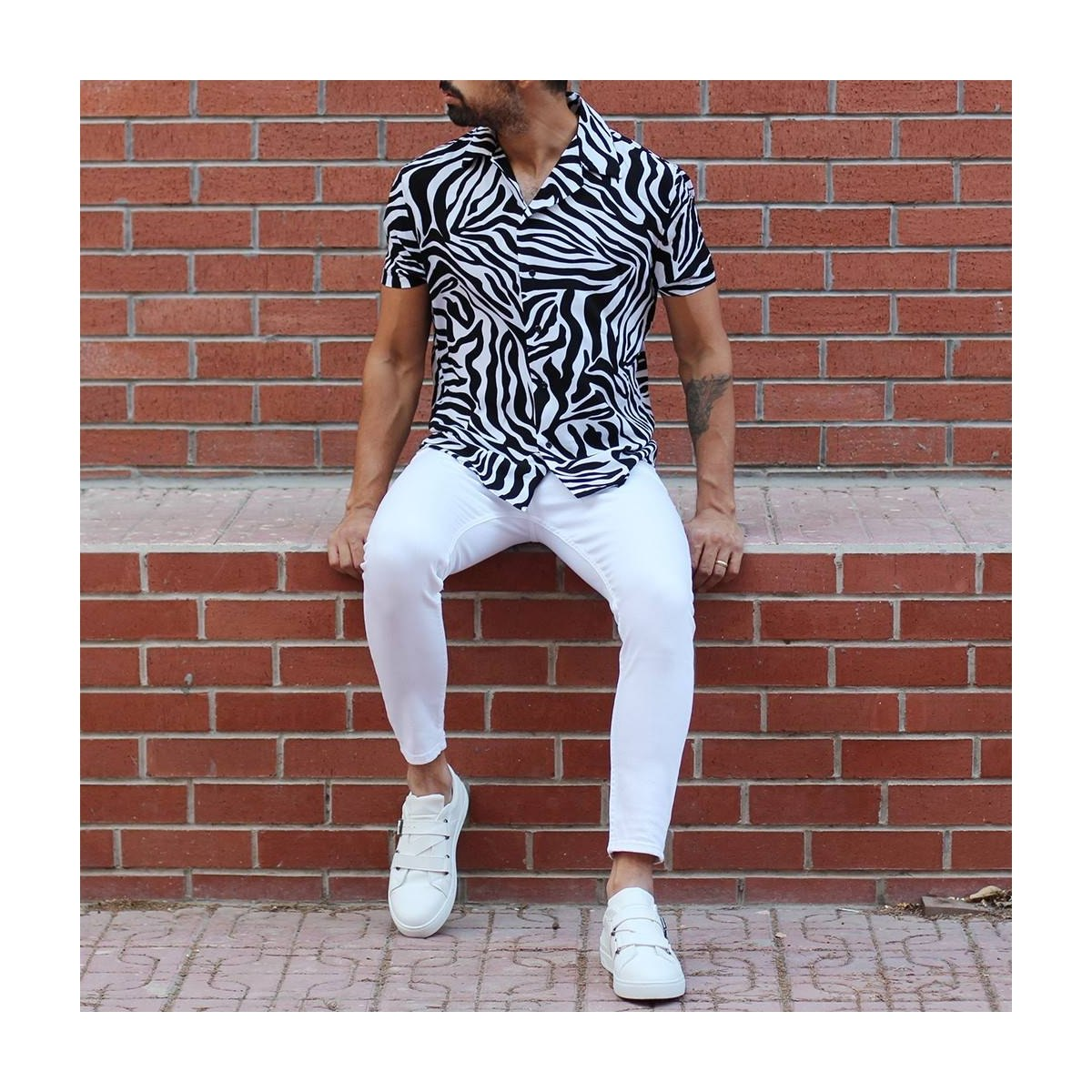 Men's Basic Stretch Jeans Full White Mv Premium Brand - 4