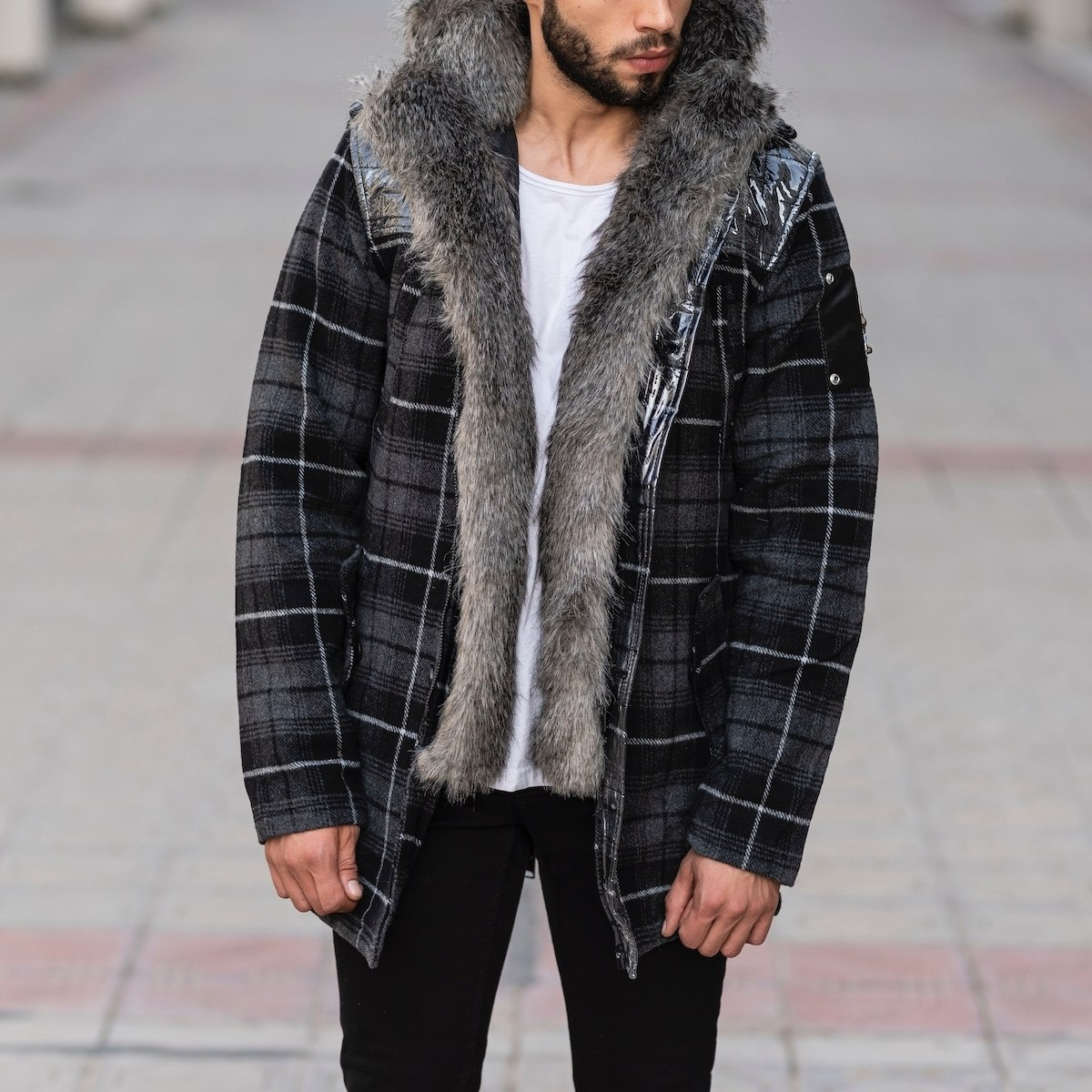 Furry Plaid Jacket With Hood