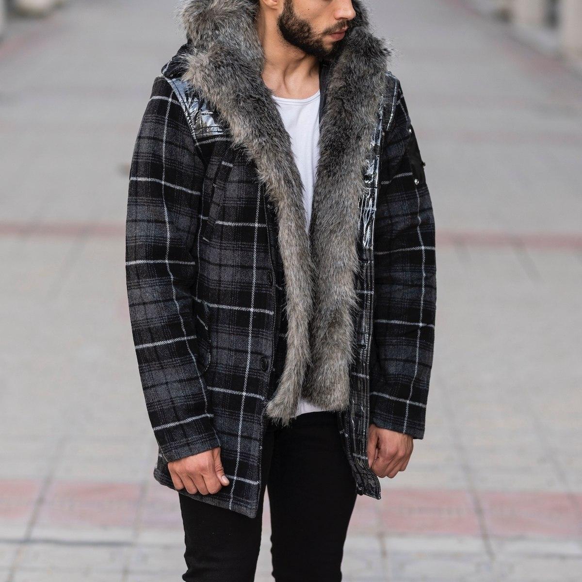Furry Plaid Jacket With Hood