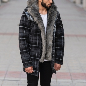 Furry Plaid Jacket With Hood MV Jacket Collection - 2