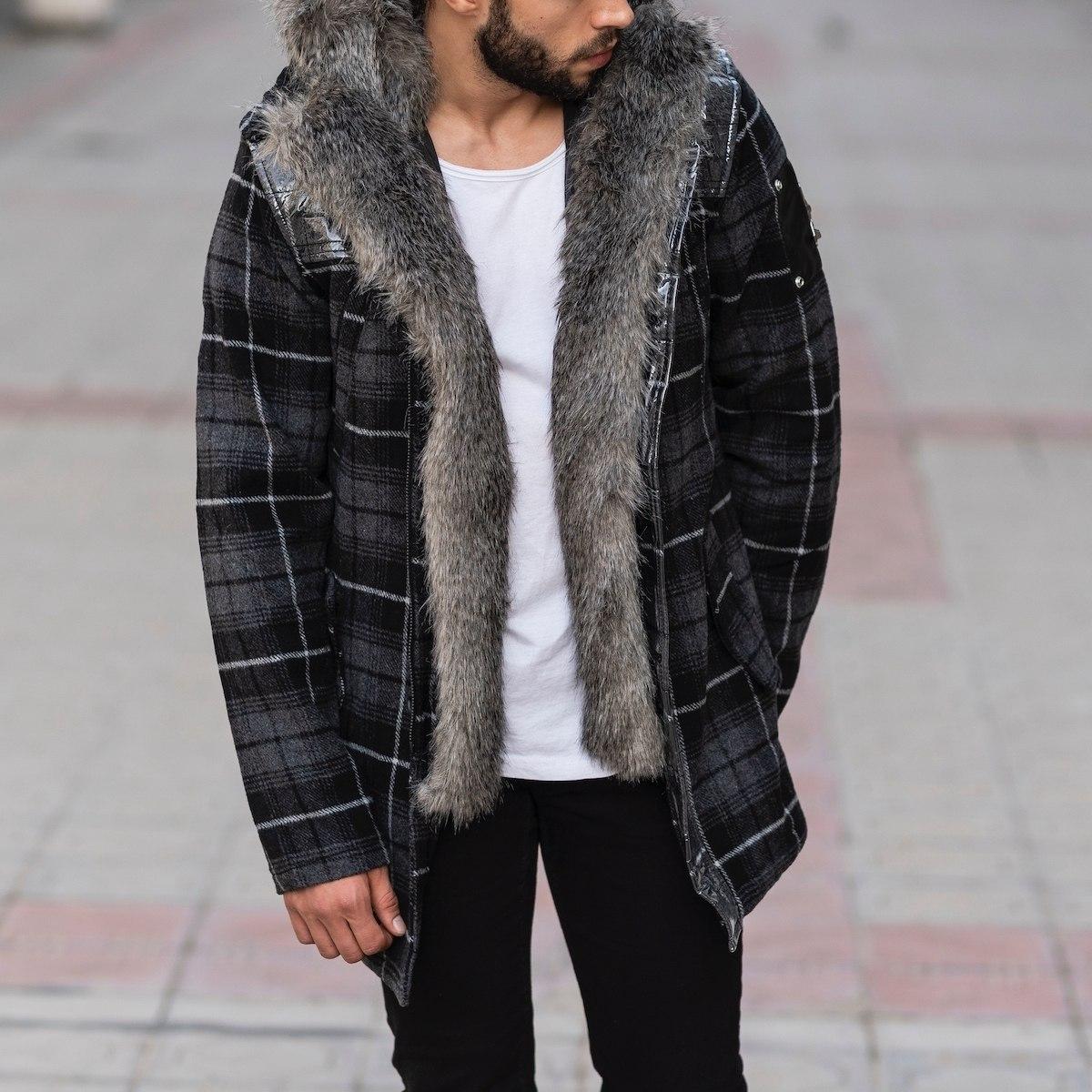 Furry Plaid Jacket With Hood MV Jacket Collection - 3