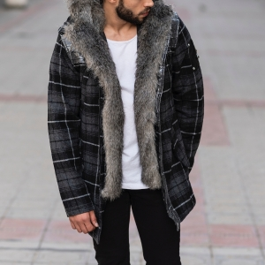 Furry Plaid Jacket With Hood MV Jacket Collection - 3