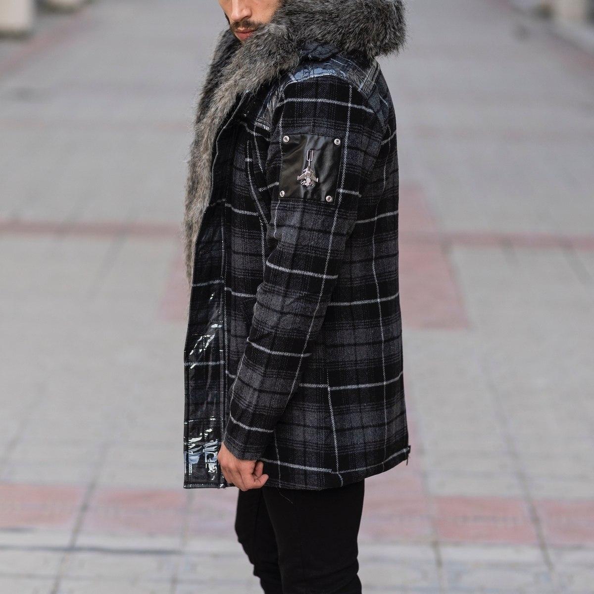 Furry Plaid Jacket With Hood MV Jacket Collection - 4