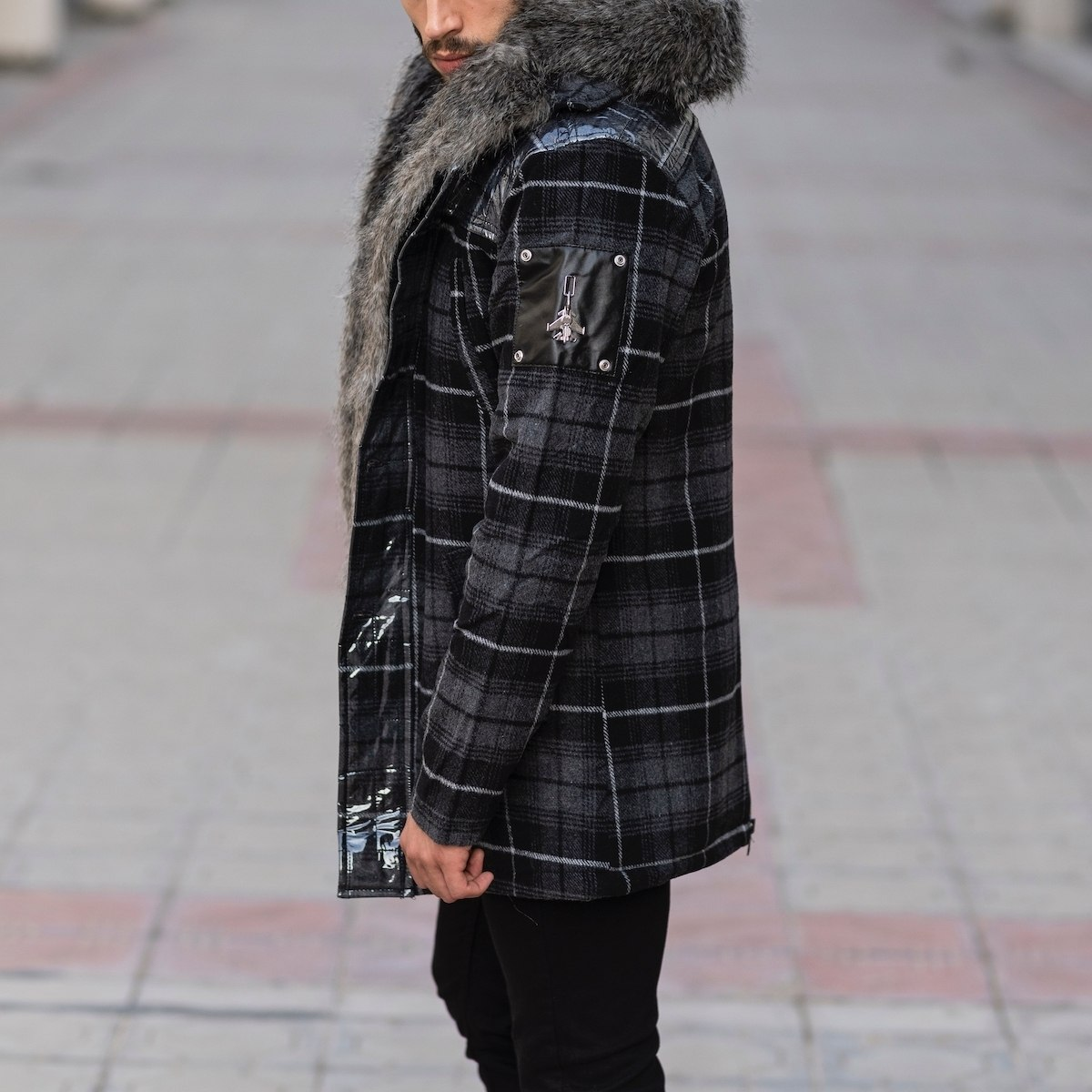 Furry Plaid Jacket With Hood MV Jacket Collection - 4