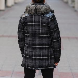 Furry Plaid Jacket With Hood MV Jacket Collection - 5