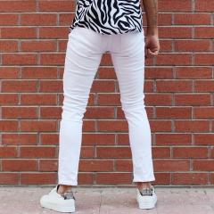 Men's Laser Cut Stretch Jeans In White Mv Premium Brand - 3