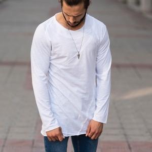 Partial Detailed Sweatshirt In White Mv Premium Brand - 1