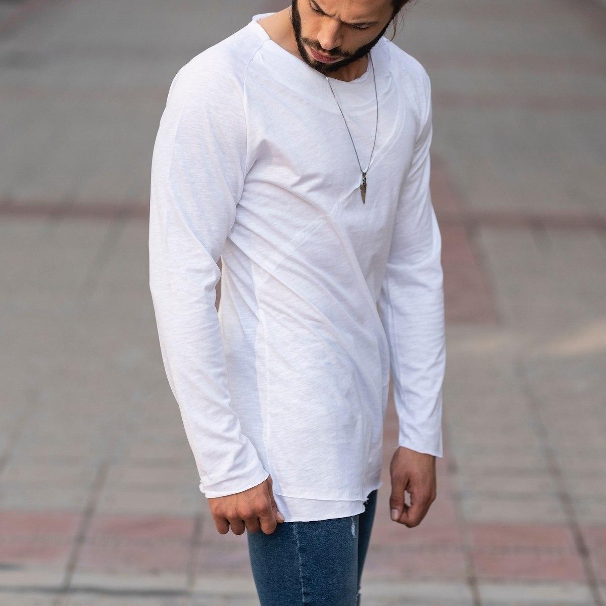 Partial Detailed Sweatshirt In White Mv Premium Brand - 2