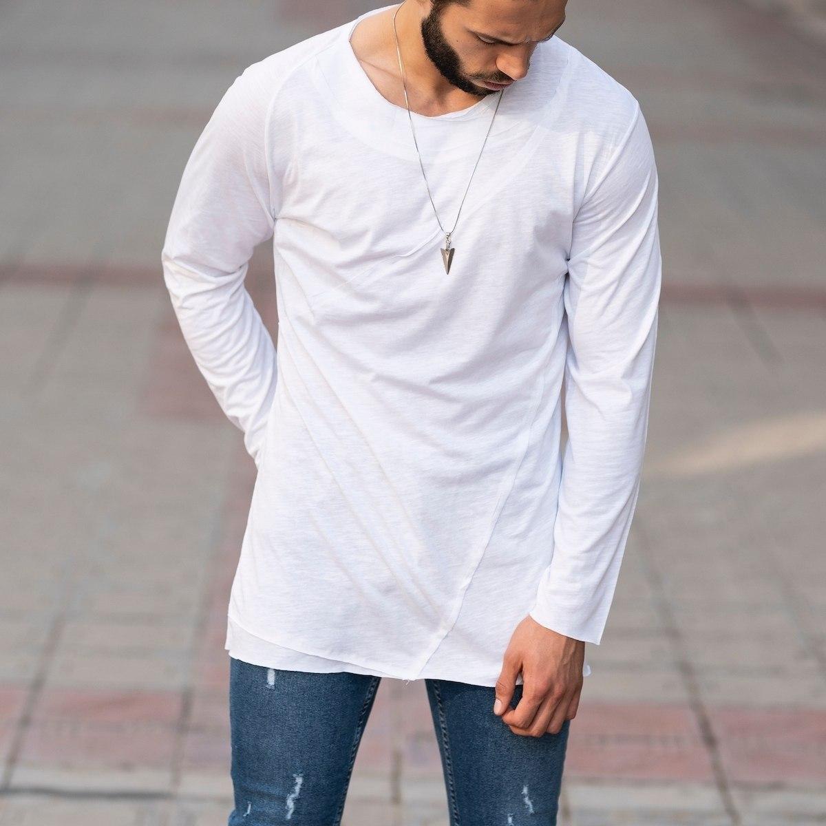 Partial Detailed Sweatshirt In White Mv Premium Brand - 3