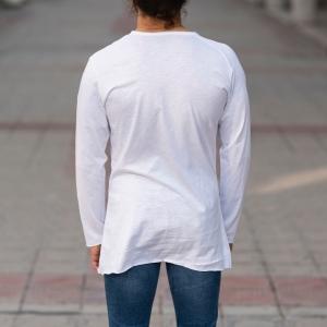 Partial Detailed Sweatshirt In White Mv Premium Brand - 4