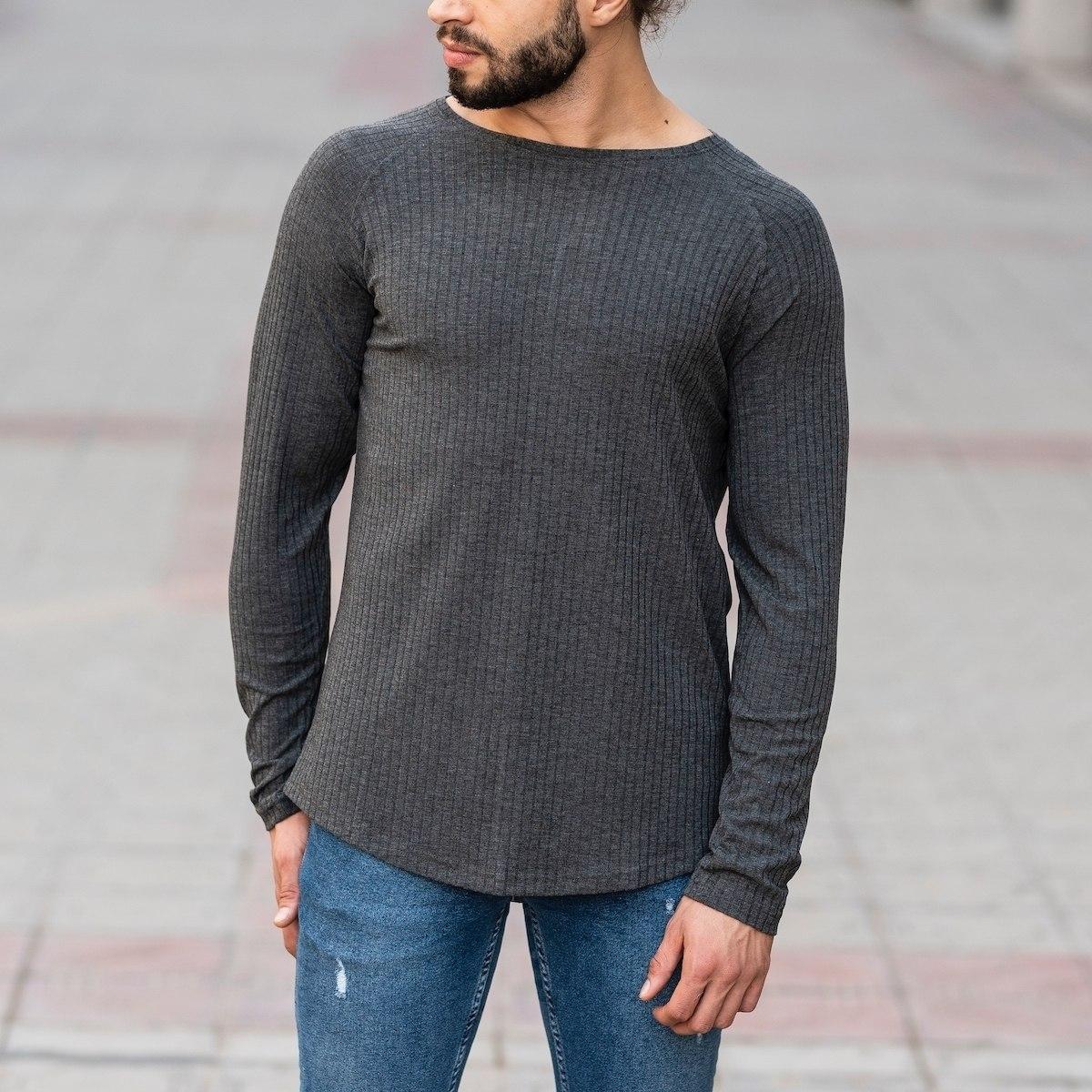 Gray Sweatshirt With Stripe Details Mv Premium Brand - 1