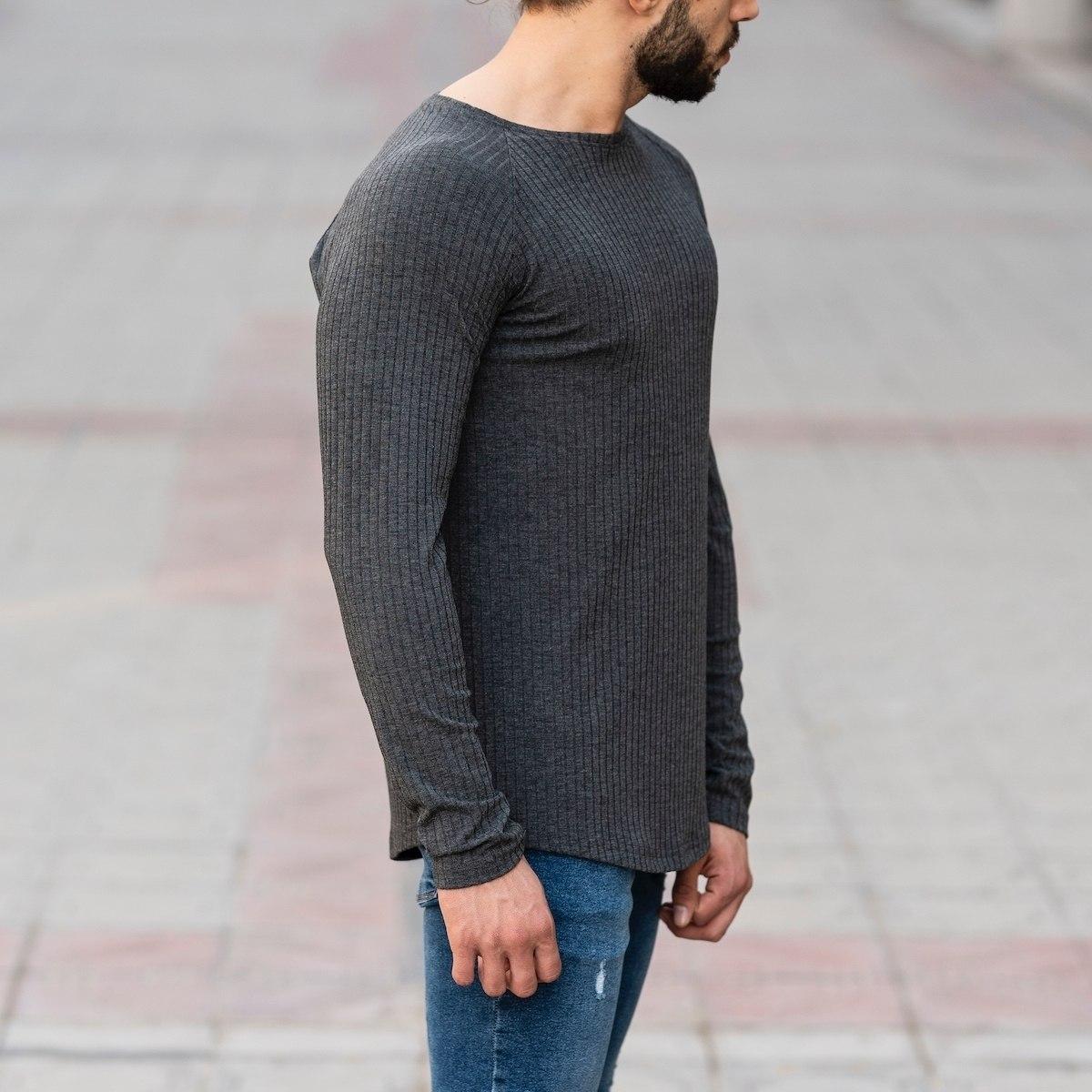 Gray Sweatshirt With Stripe Details Mv Premium Brand - 2