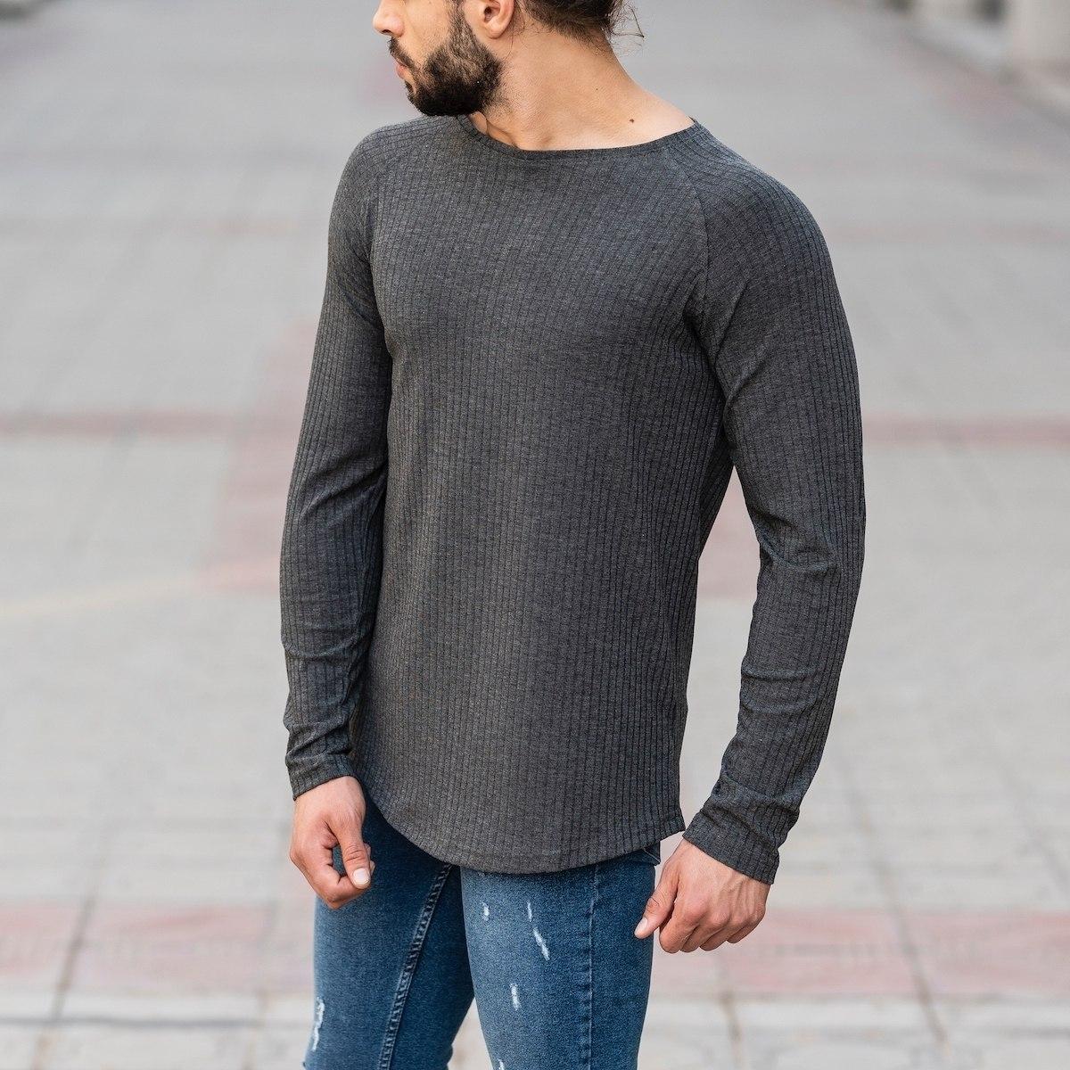 Gray Sweatshirt With Stripe Details Mv Premium Brand - 3