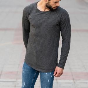 Gray Sweatshirt With Stripe Details Mv Premium Brand - 4