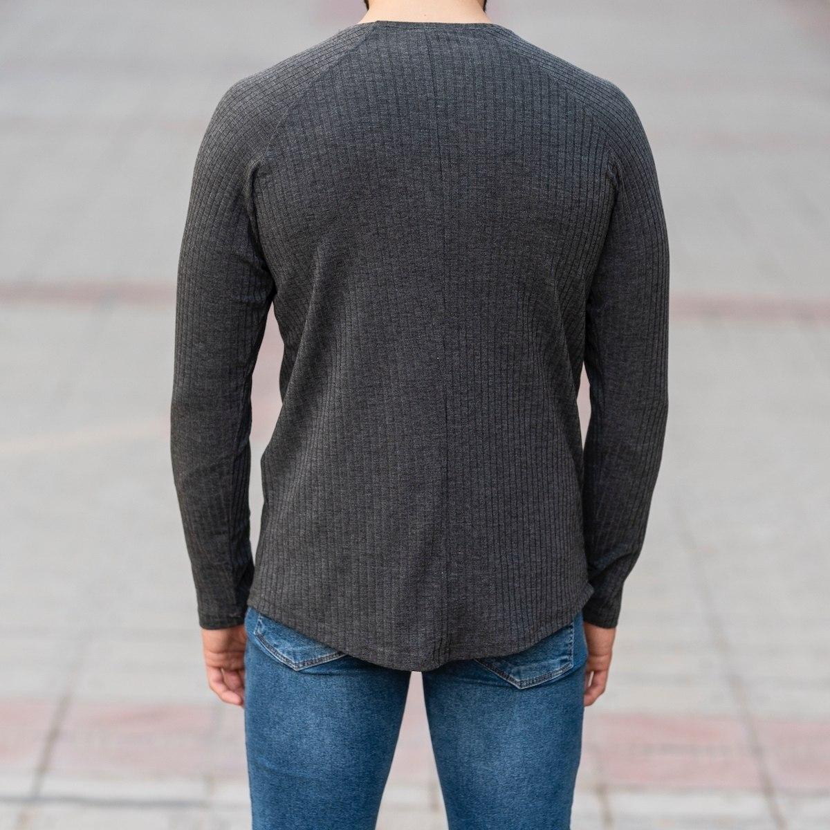 Gray Sweatshirt With Stripe Details Mv Premium Brand - 5