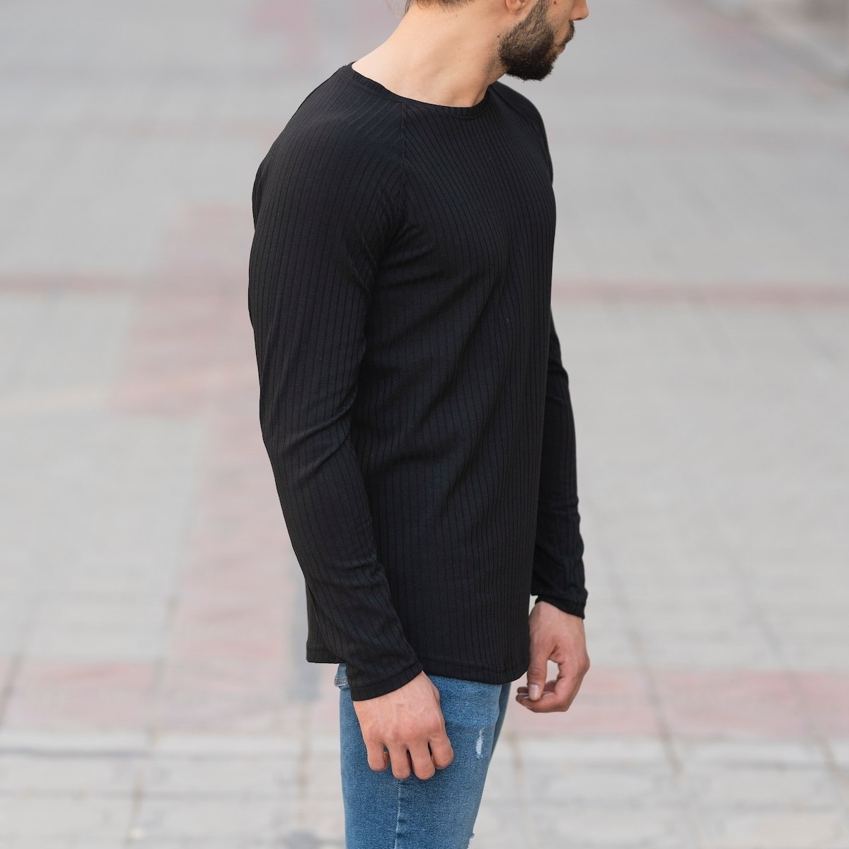Black Sweatshirt With Stripe Details Mv Premium Brand - 2
