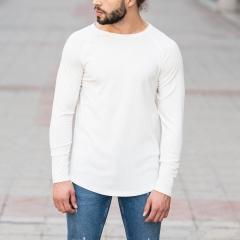 White Sweatshirt With Stripe Details Mv Premium Brand - 1