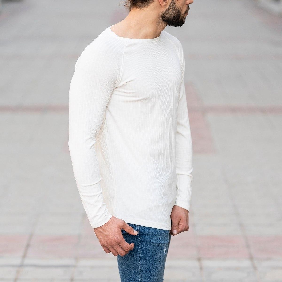 White Sweatshirt With Stripe Details Mv Premium Brand - 2