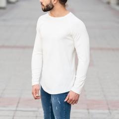 White Sweatshirt With Stripe Details Mv Premium Brand - 3