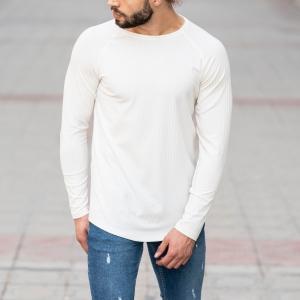 White Sweatshirt With Stripe Details Mv Premium Brand - 4