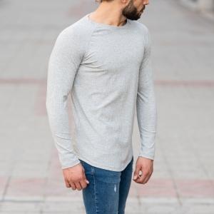 Stone Gray Sweatshirt With Stripe Details Mv Premium Brand - 2