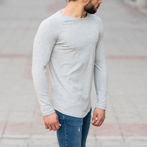 Stone Gray Sweatshirt With Stripe Details Mv Premium Brand - 2