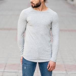 Stone Gray Sweatshirt With Stripe Details Mv Premium Brand - 1