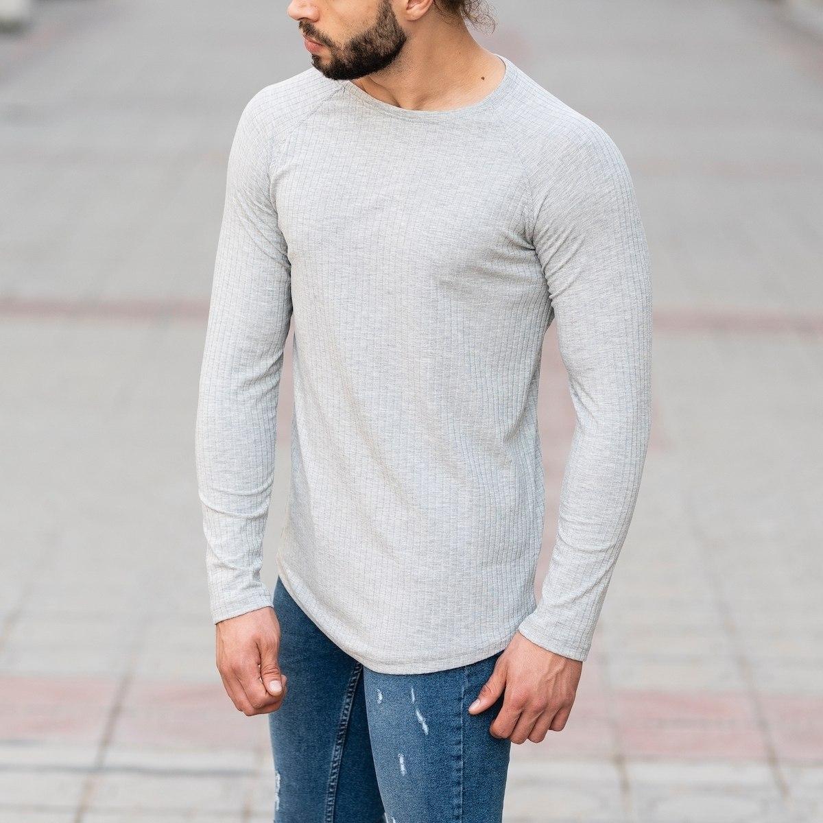 Stone Gray Sweatshirt With Stripe Details Mv Premium Brand - 3