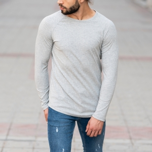 Stone Gray Sweatshirt With Stripe Details Mv Premium Brand - 4
