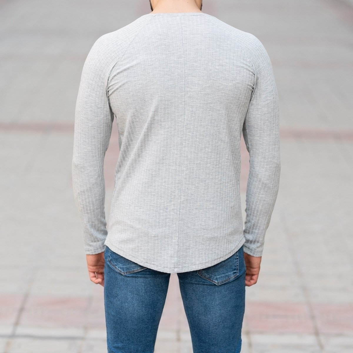 Stone Gray Sweatshirt With Stripe Details Mv Premium Brand - 5