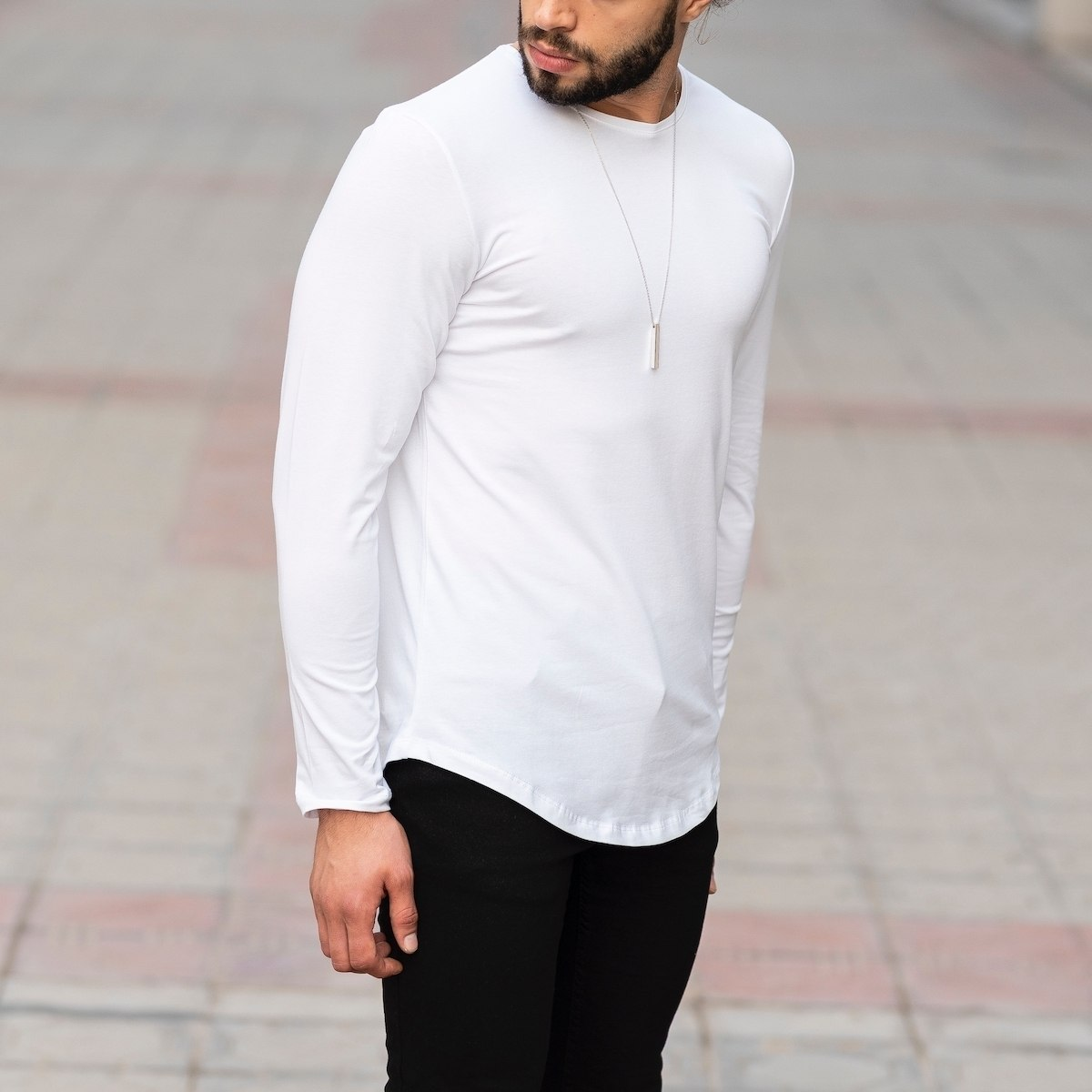 Basic Sweatshirt In White Mv Premium Brand - 3