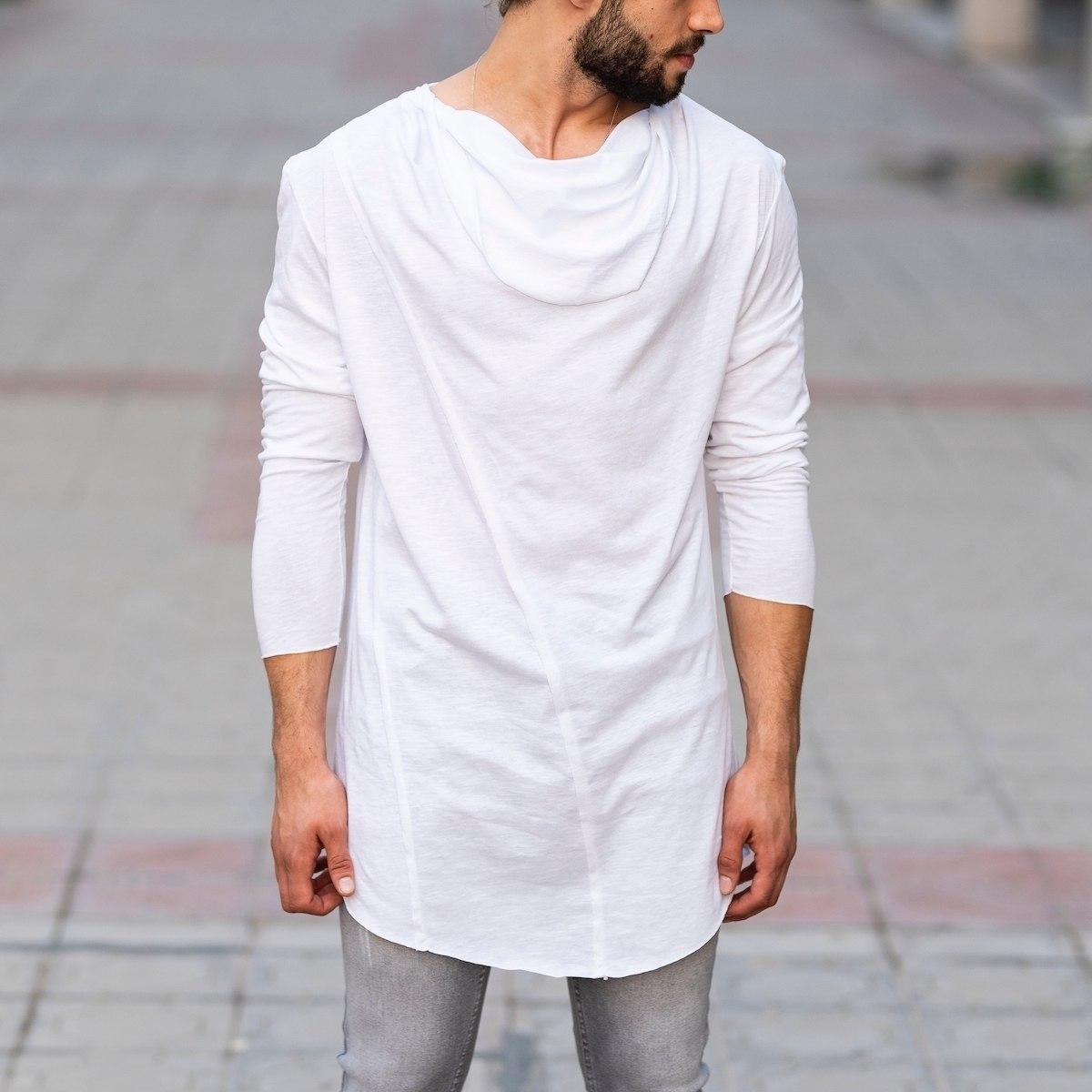 Scarf-Neck Sweatshirt In White Mv Premium Brand - 1