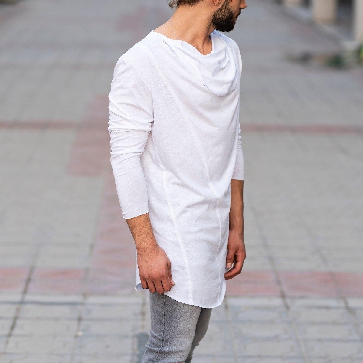 Scarf-Neck Sweatshirt In White Mv Premium Brand - 2