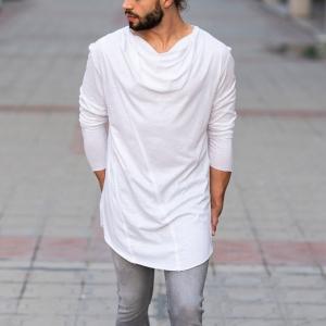 Scarf-Neck Sweatshirt In White Mv Premium Brand - 4