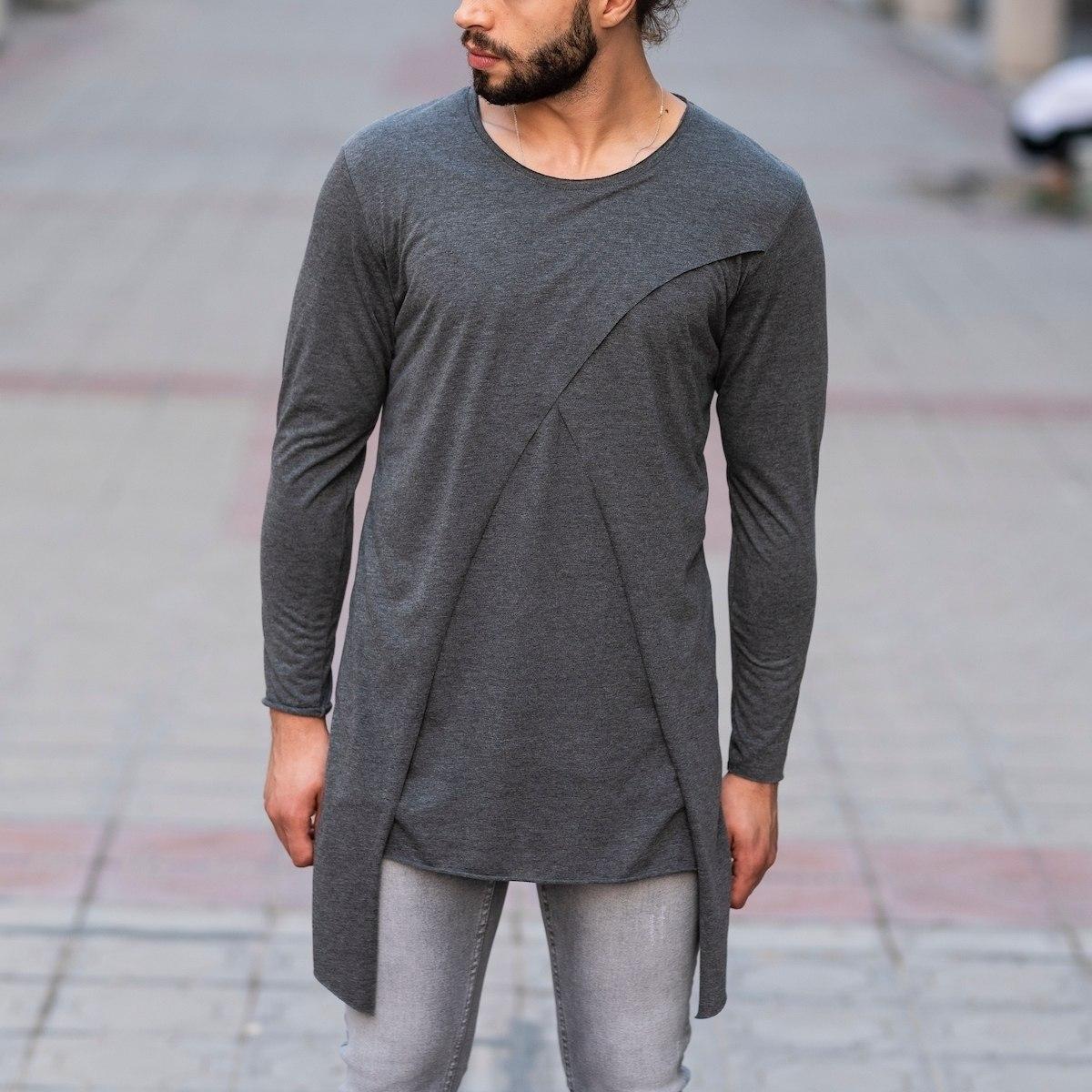 V-Layered Sweatshirt In Gray Mv Premium Brand - 1