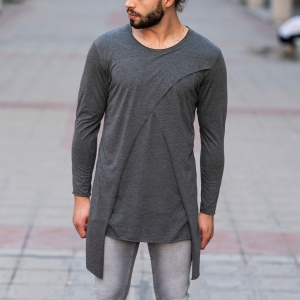 V-Layered Sweatshirt In Gray Mv Premium Brand - 1