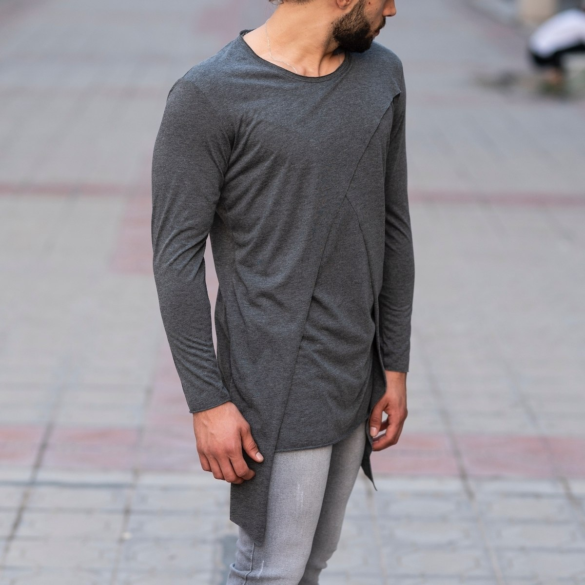 V-Layered Sweatshirt In Gray Mv Premium Brand - 2