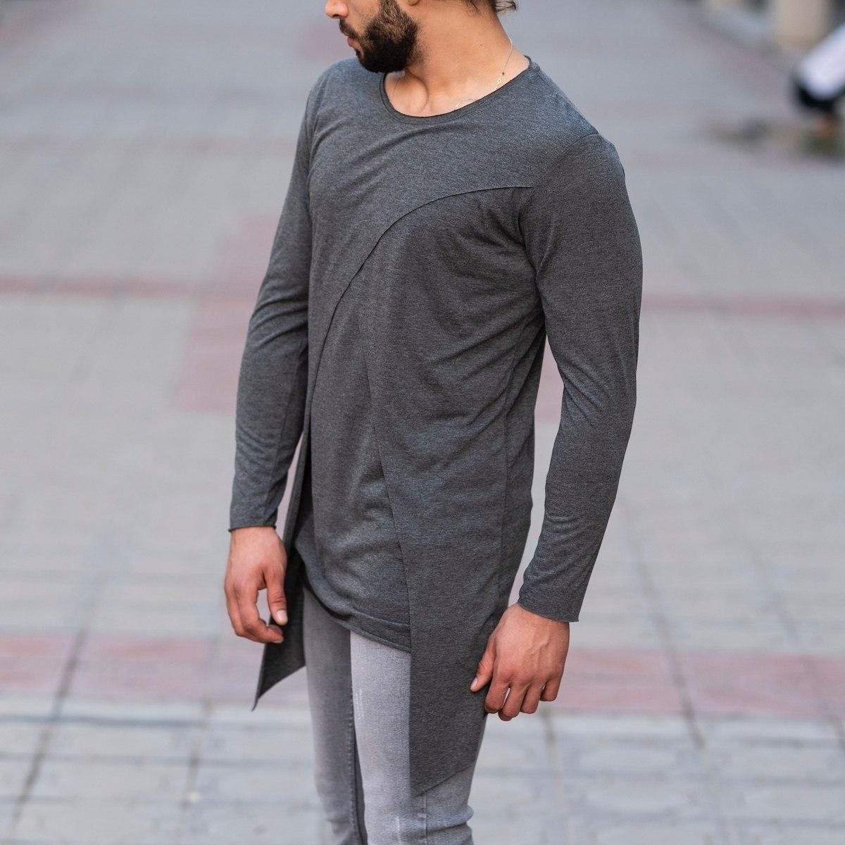 V-Layered Sweatshirt In Gray Mv Premium Brand - 3