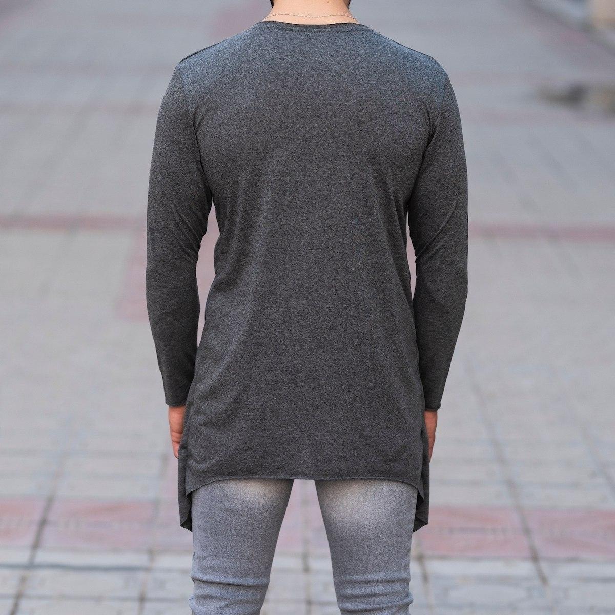 V-Layered Sweatshirt In Gray Mv Premium Brand - 4