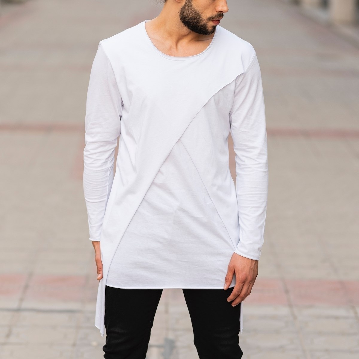 Double Textured Sweatshirt In White Mv Premium Brand - 1
