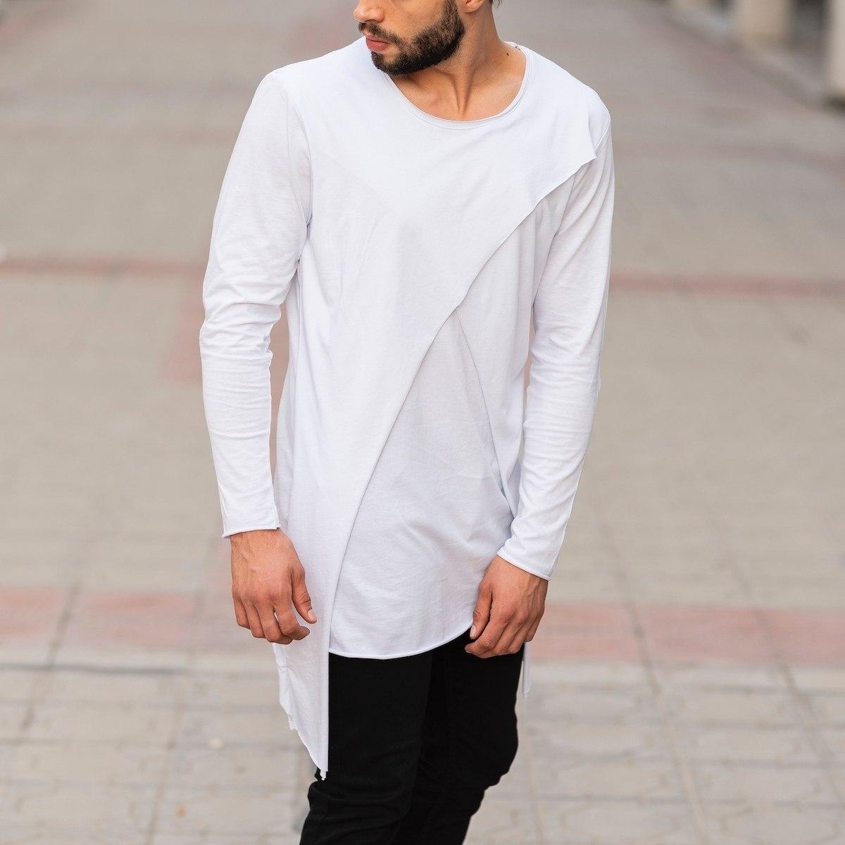 Double Textured Sweatshirt In White Mv Premium Brand - 2