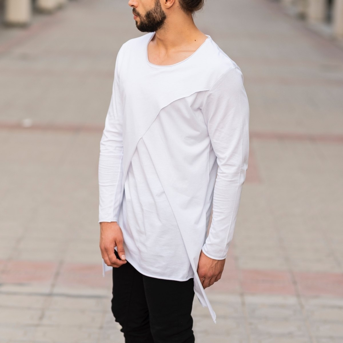 Double Textured Sweatshirt In White Mv Premium Brand - 3