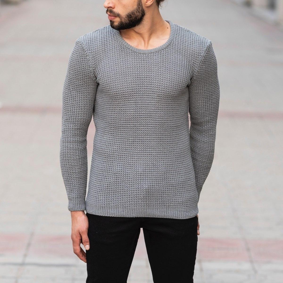 Knitted Pullover In Gray Mv Premium Brand - 1