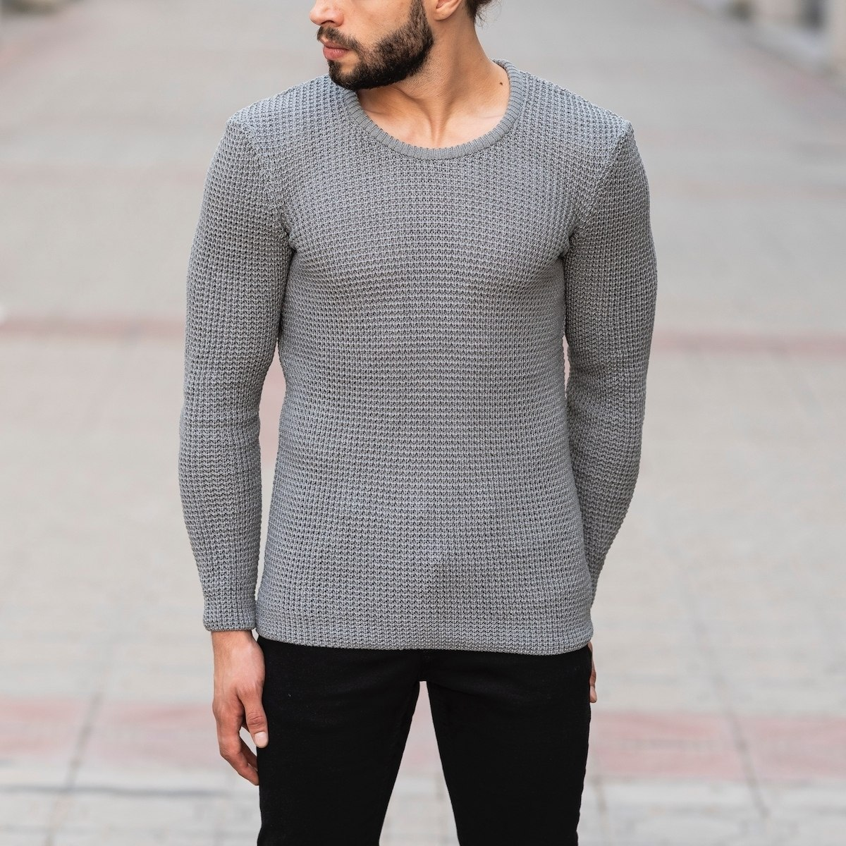 Knitted Pullover In Gray Mv Premium Brand - 1