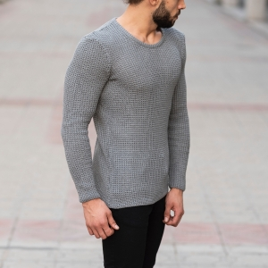 Knitted Pullover In Gray Mv Premium Brand - 2