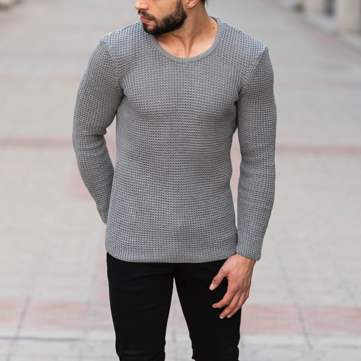 Knitted Pullover In Gray Mv Premium Brand - 3
