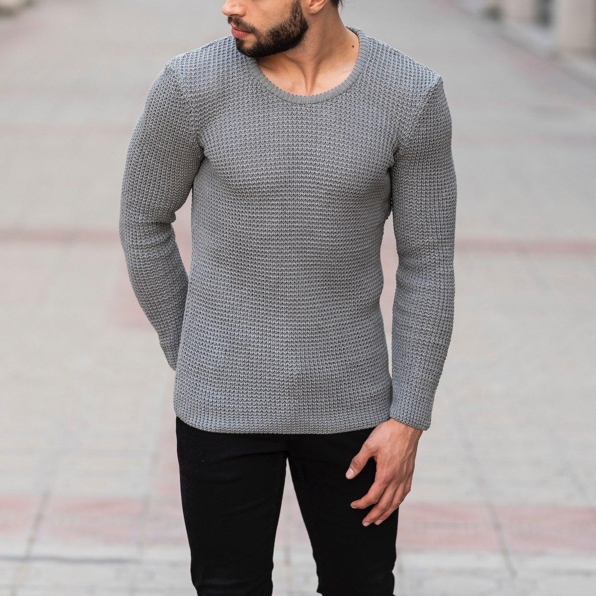 Knitted Pullover In Gray Mv Premium Brand - 3