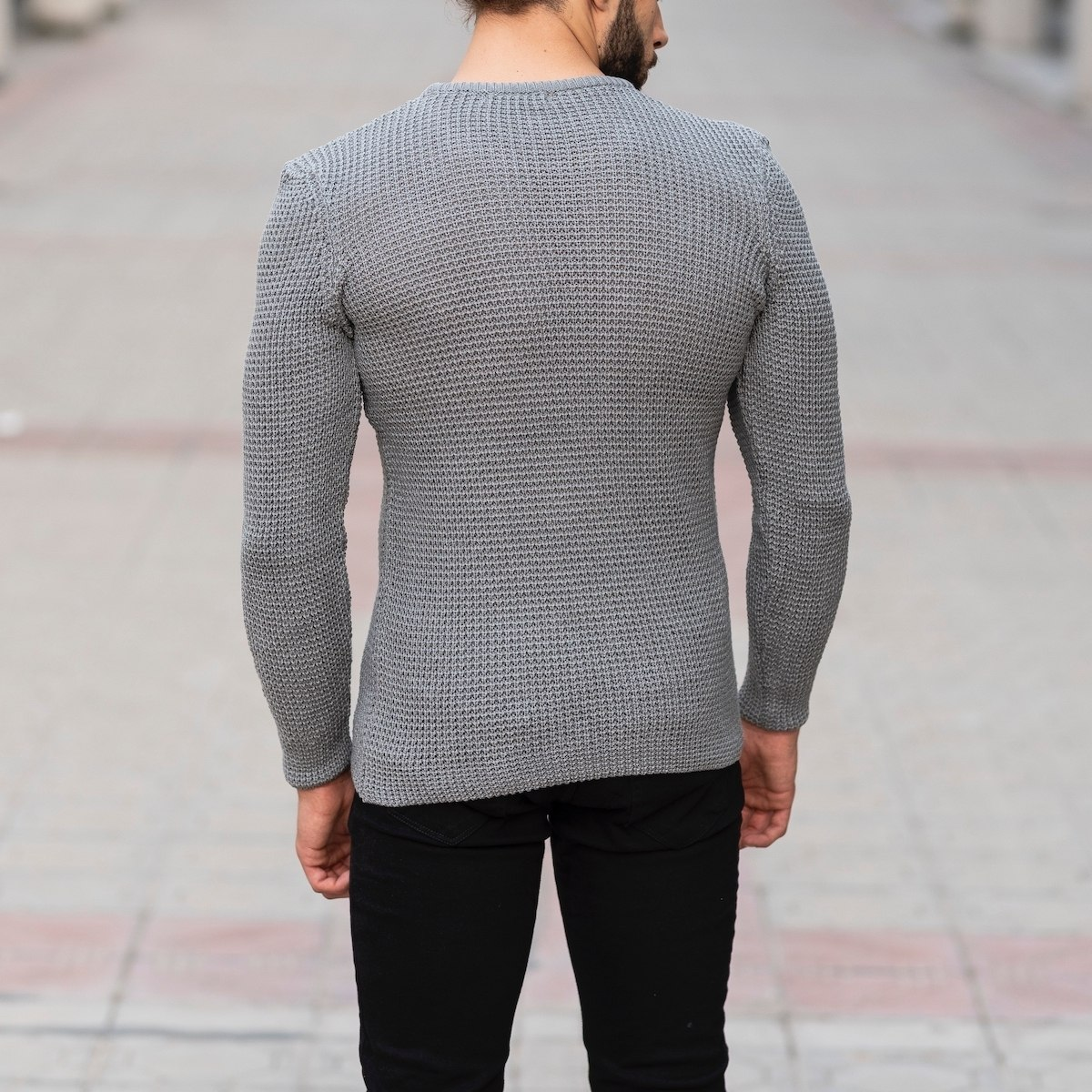 Knitted Pullover In Gray Mv Premium Brand - 4