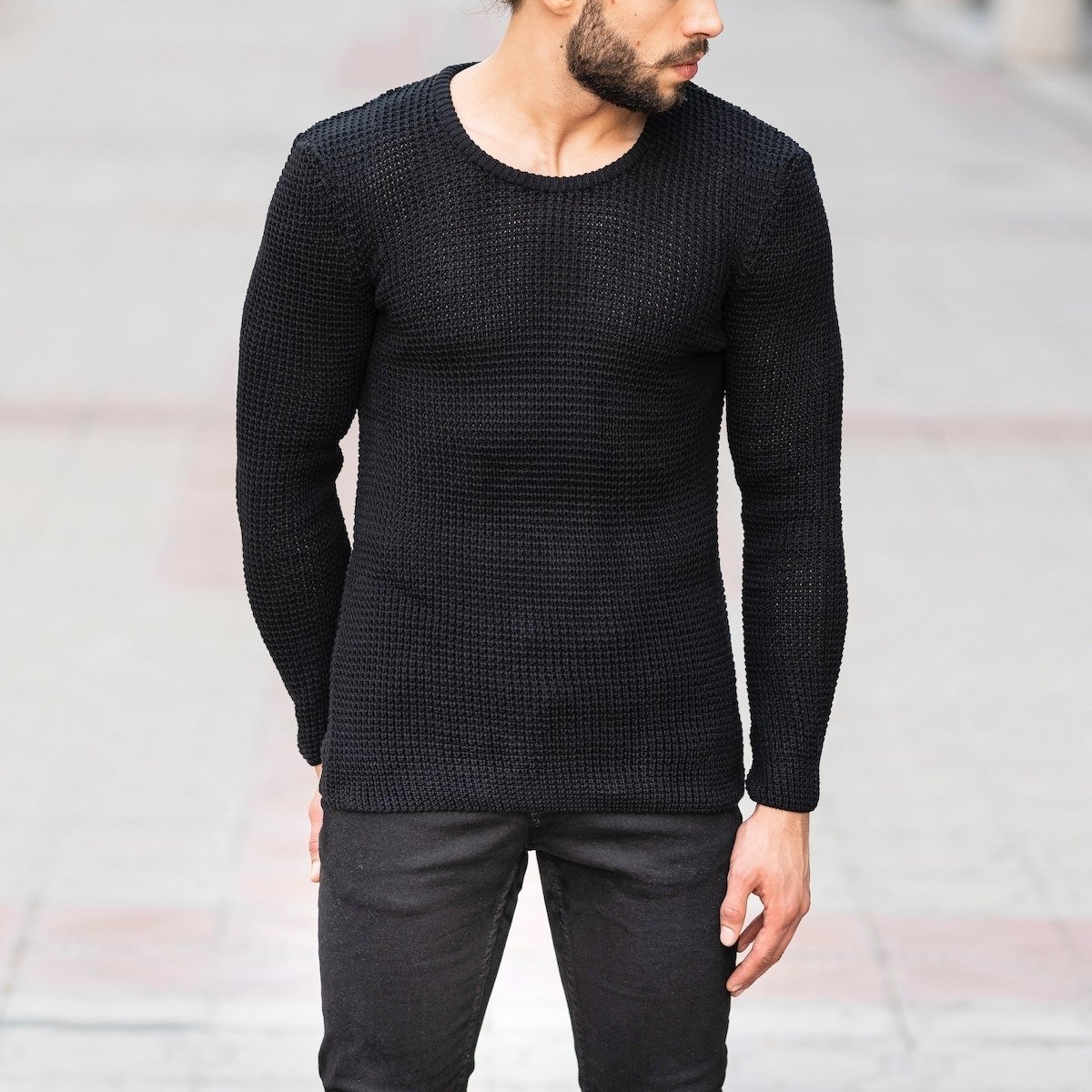 Knitted Pullover In Black Mv Premium Brand - 1